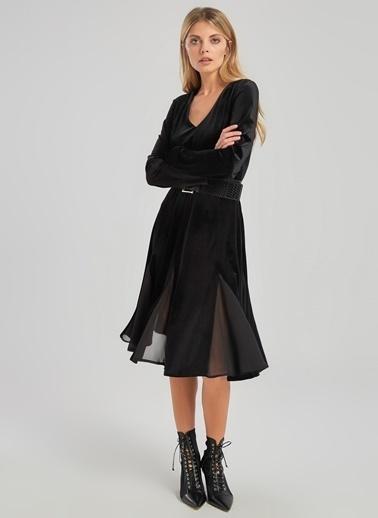 People By Fabrika Şifon Detaylı Kadife Elbise Siyah